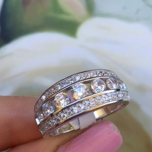 Jewelry - 14k white gold ring wedding band 1.5 ct engagement